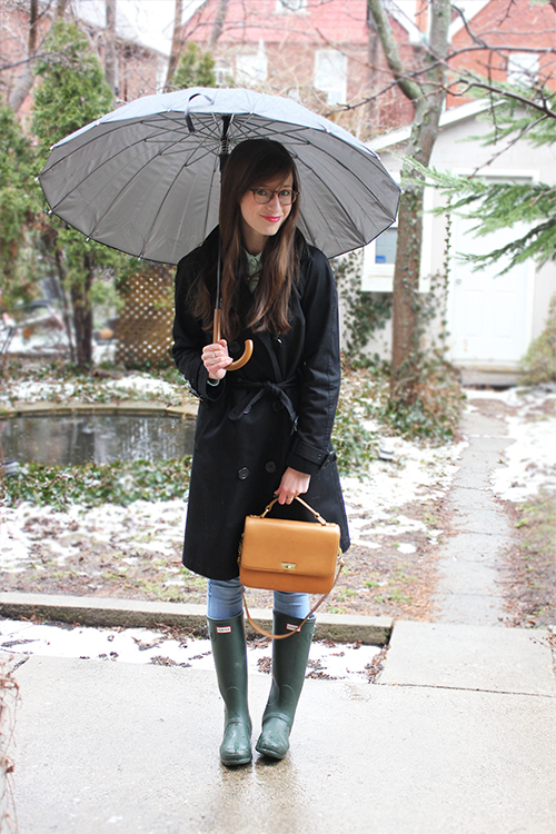 Style Bee in a black trench, hunter boots and brown purse