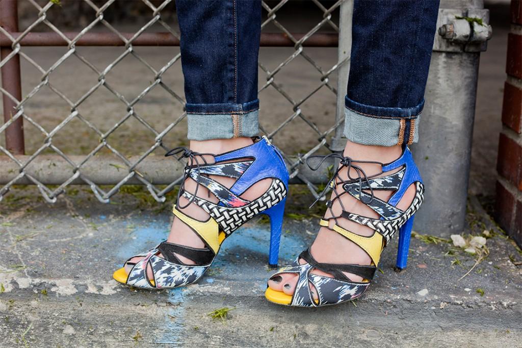 Mixed material heels. Zara.