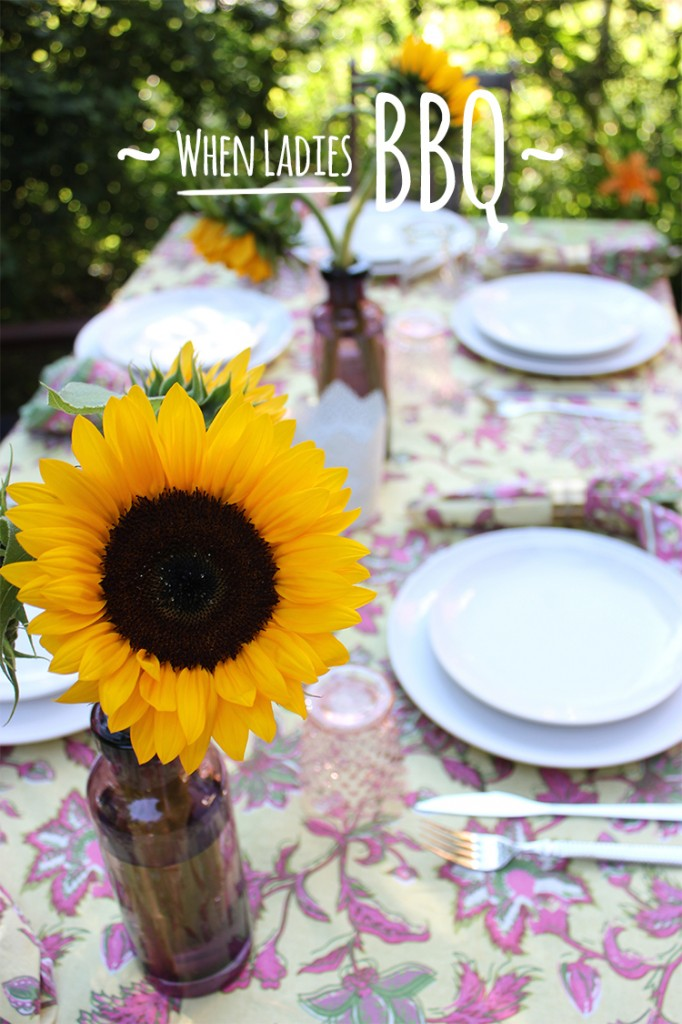 Style Bee summer table setting with sunflowers.