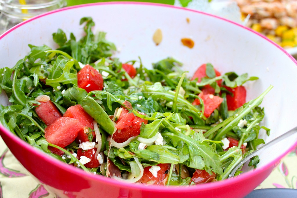Style Bee - Grilled Watermelon, Feta and Arugula Salad
