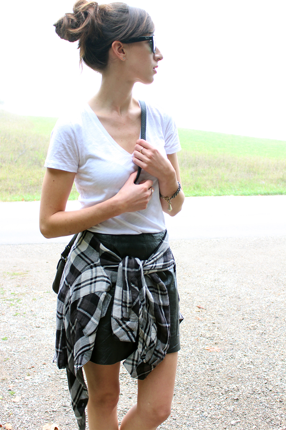 Style Bee wearing Rails LA plaid shirt, Mackage bag, Anine Bing boots and leather skirt.