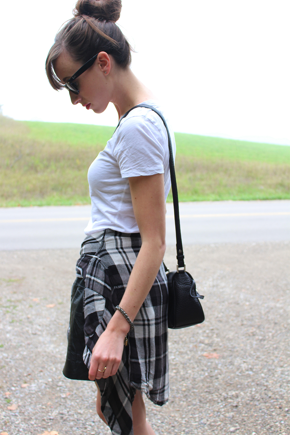 Style Bee wearing Rails LA plaid shirt, Mackage bag and leather skirt.
