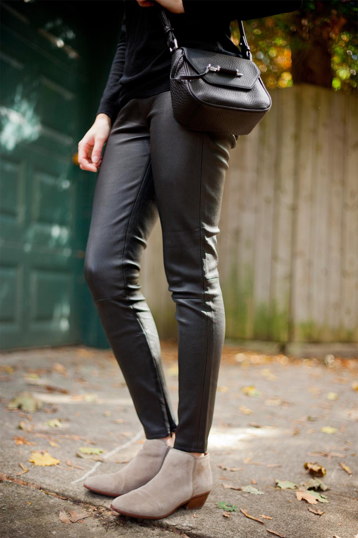Mackage Novaki bag and leather legginds.