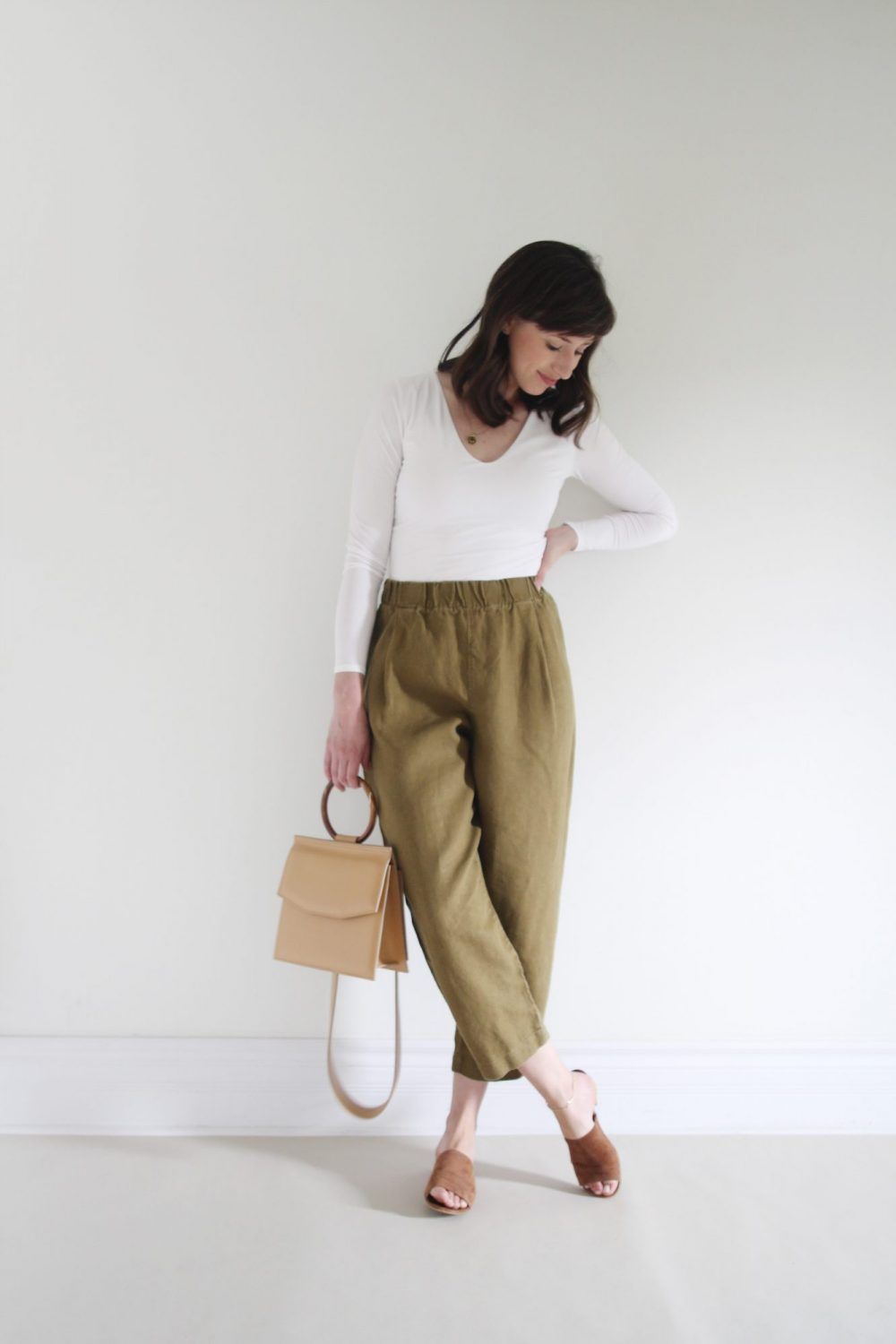 Style Bee - August Outfits Look 1 - White Bodysuit + Olive Andy Pant + Suede Slides + Structured Tan Bag