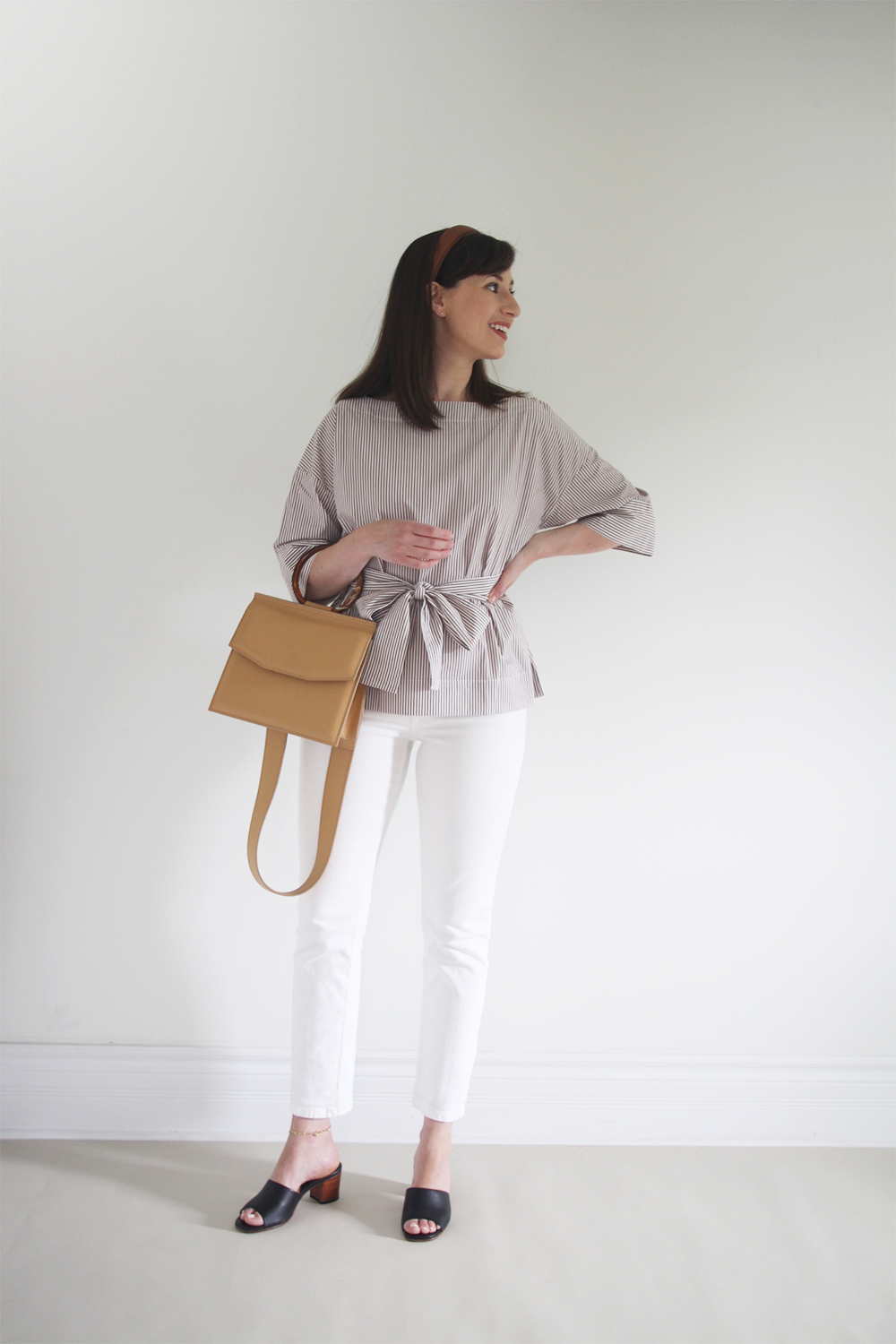 Style Bee - Summer Stripes - For Work - Striped Tie Top + White Jeans + Mules + Leather Headband + Structured Bag