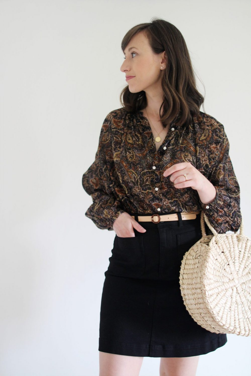 August Outfits - Look 2 - Paisley Blouse + Black Mini Skirt + Nude Belt + Clogs + Woven Circle Tote